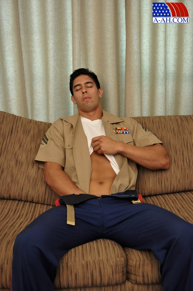 Muscled soldiers jerking cock 12