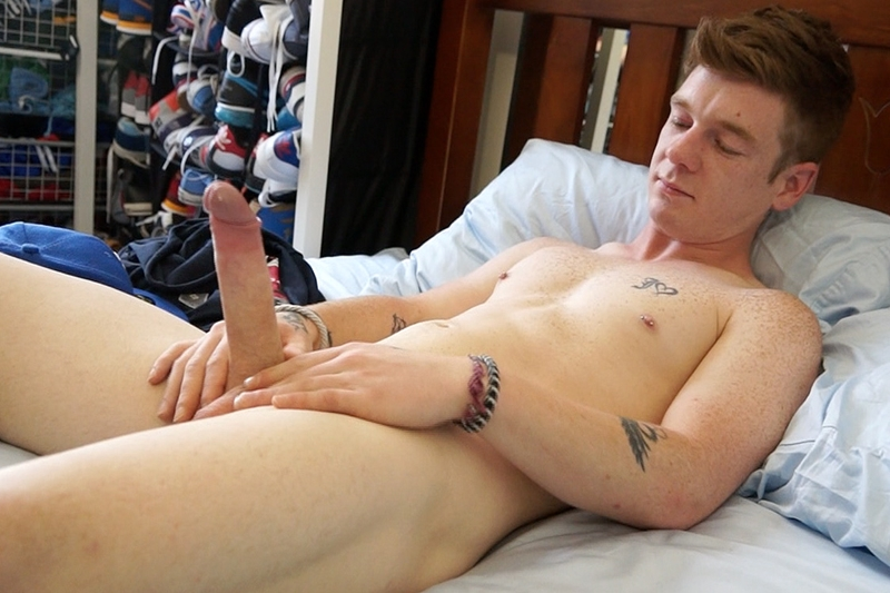 Aussie redhead Cody James jerks his very fat uncut dick