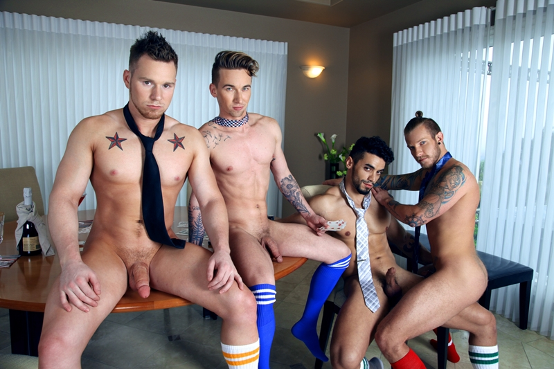 Naked sexy men Jaxon Colt, Ashton Webber, Arad and Owen Michaels hot gay sex foursome