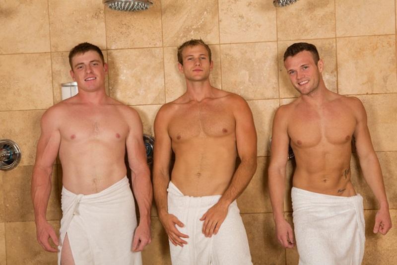 Blake, Sean and Curtis bareback ass fucking threesome
