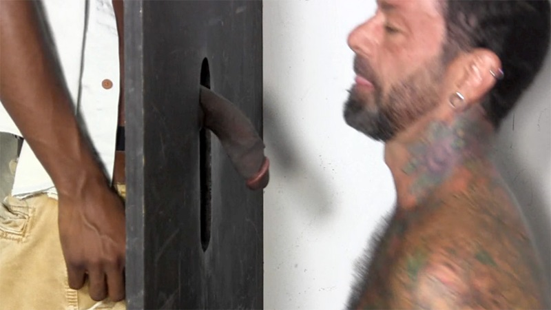 Man with penis piercing at gloryhole