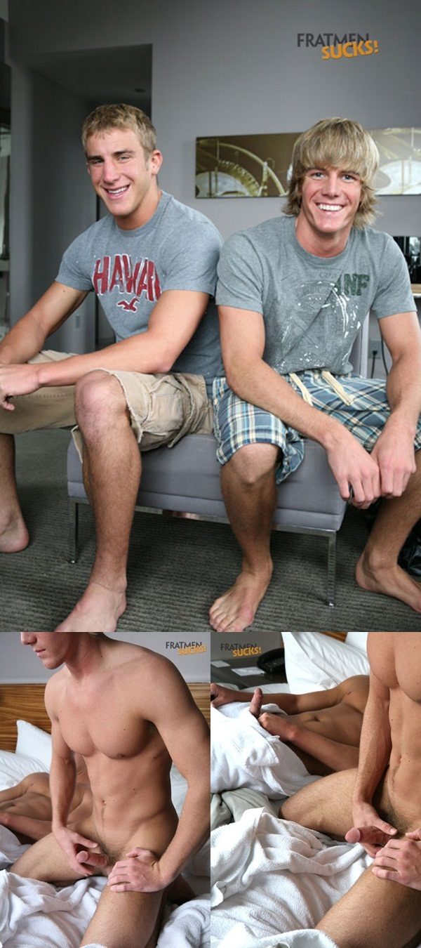 Fratmen Sucks: Ross and Trey two hot jocks exchange blowjobs