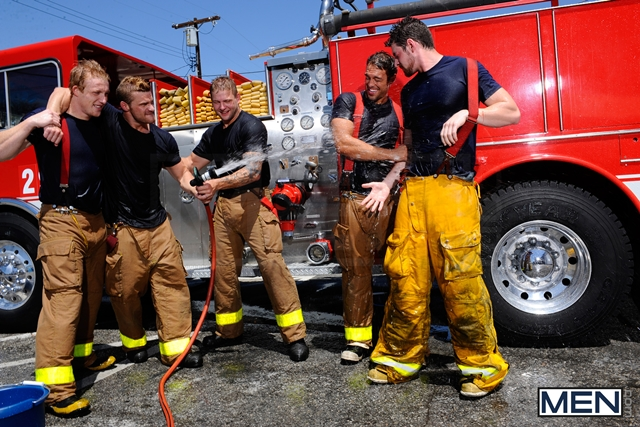 Hot naked Firemen with Rocco Reed, Colby Jansen, Andrew Stark, Landon Conrad and Charlie Roberts