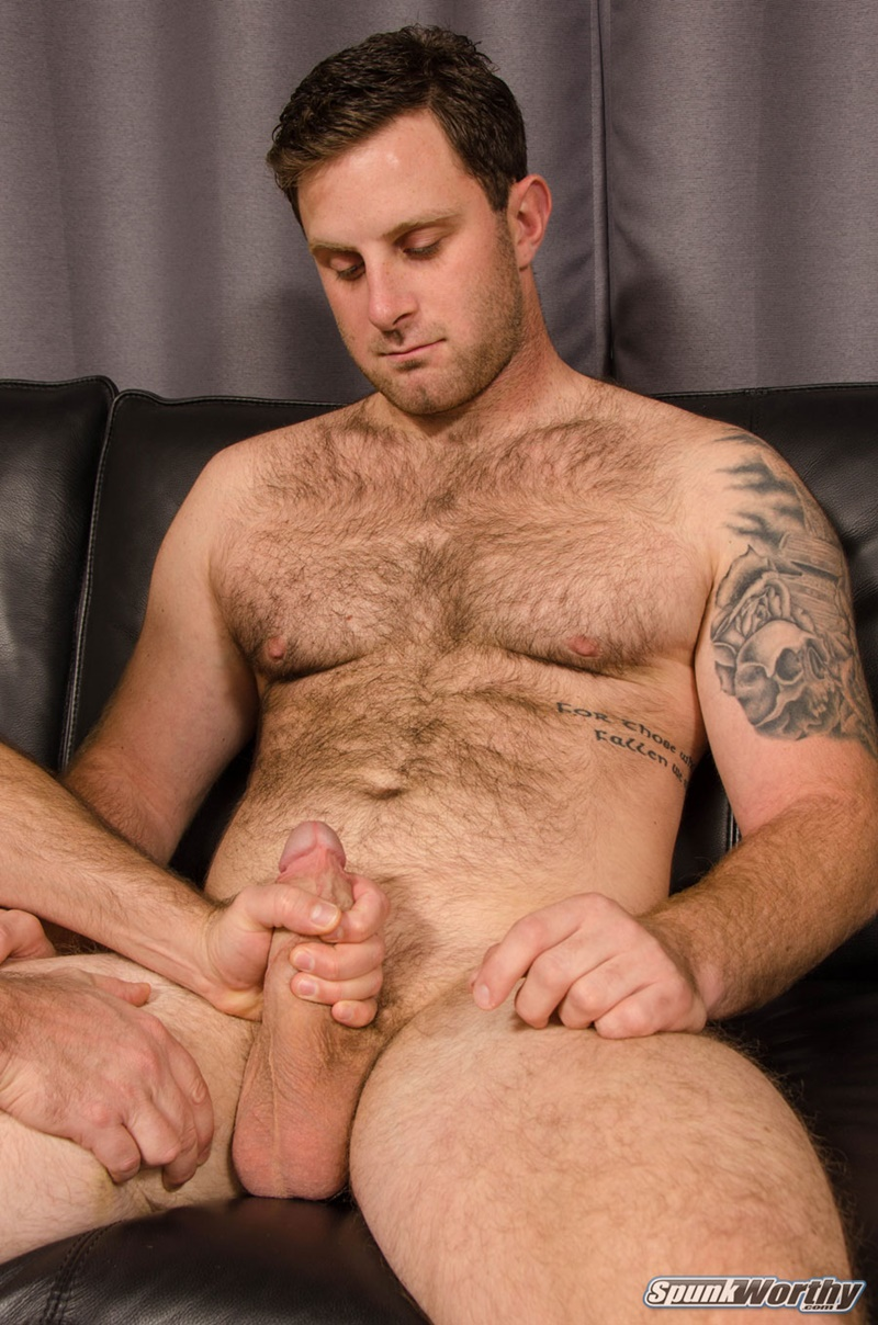 Hairy hunks chest cumshot