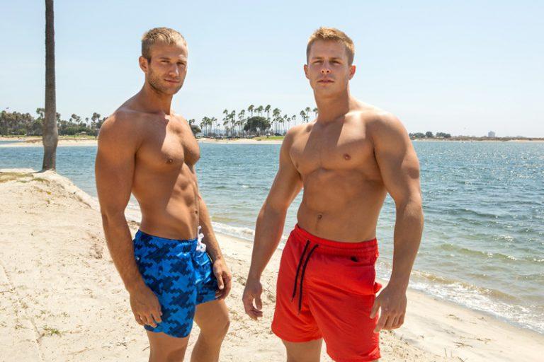 Hot naked young muscle men Nixon and Blake bareback ass fucking