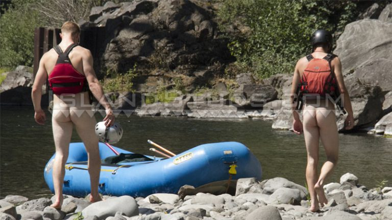 Island Studs roommates Chris Pryce and Chuck go nude white water rafting in Oregon