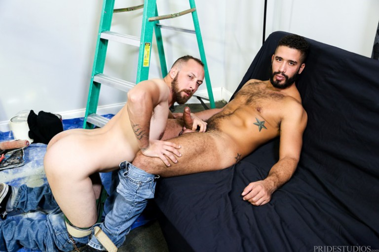 Dustin Steele's big thick dick fucks Trey Turner hard from behind pushing his head into the couch