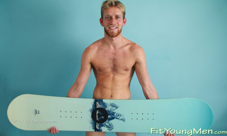 Sexy bearded snowboarder Sam Dillon strips naked and jerks his huge uncut dick