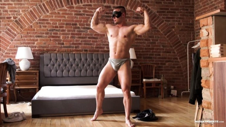 Bodybuilder Zahn strips and jerks his huge cock to a massive load of hot muscle boy cum