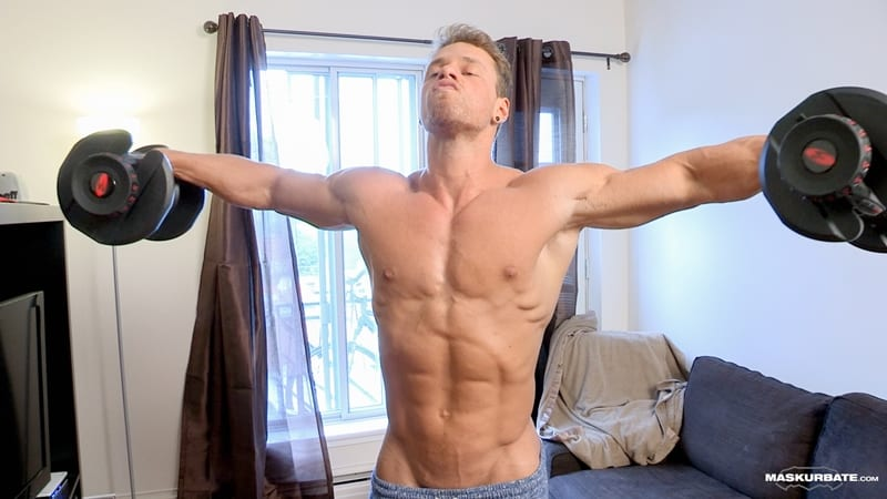 Big-muscle-man-Maskurbate-Brad-strips-naked-jerking-huge-uncut-dick-cum-002-Gay-Porn-Pics