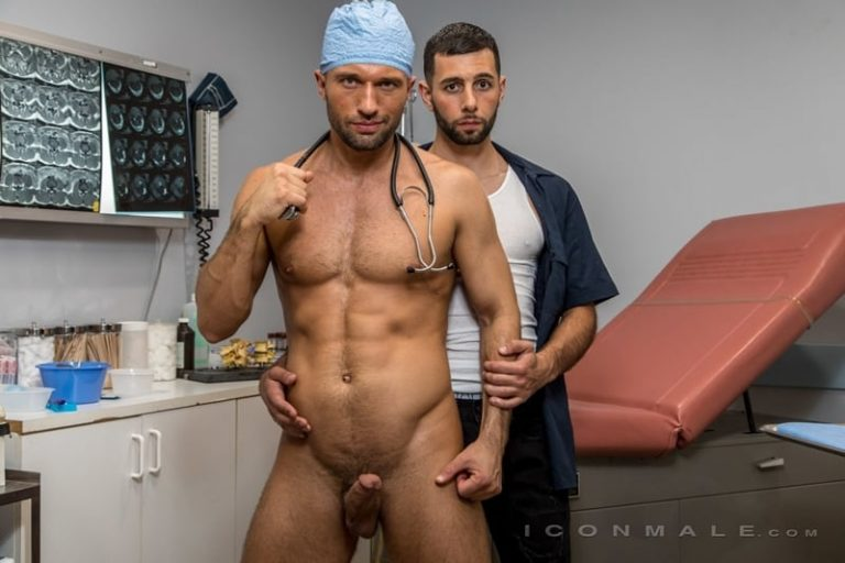 Sexy nurse Colby Tucker fucked hard by Argos Santini's huge 9 inch blue collar cock