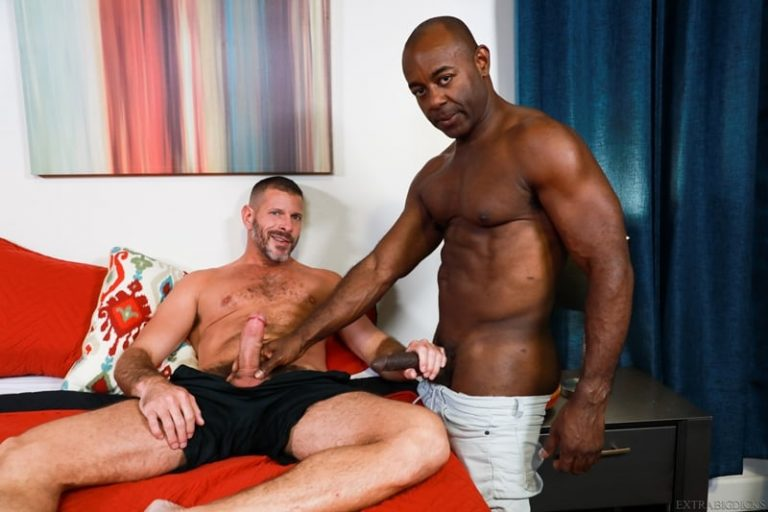 Ebony muscle hunk Aaron Trainer pushes his big black cock into Clay Towers' tight ass