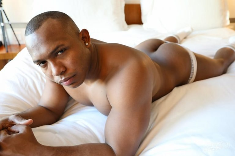 Hottie black muscle stud Danny Vega strips naked wanking his big ebony dick till he explodes cum across his chest