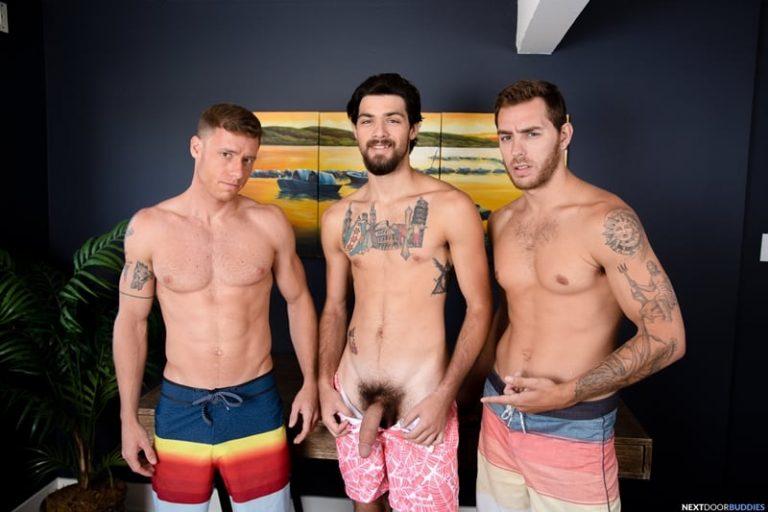 Hottie young dudes Carter Woods and Justin Matthews' hot asses fucked hard by Leeroy Jones' big cock