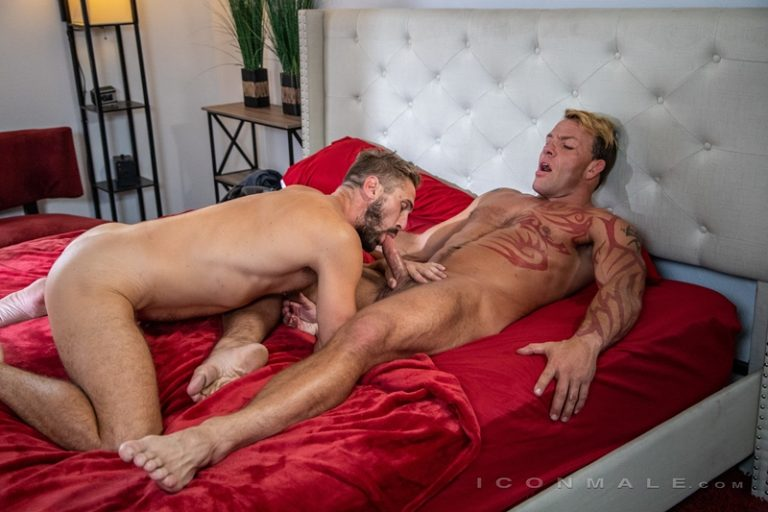 Wesley Woods sucks down balls deep on Tristan Brazer's big muscle dick