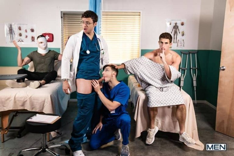 Dr Nate Grimes fucked by Michael Jackman and Zane Williams' huge dicks