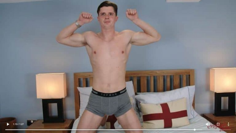 Super straight muscle stud Logan Brown big uncut dick massage ends with cum spurting all over himself